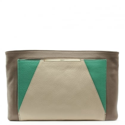 DKNY Crosby Tri Coloured Beige Leather Clutch Bag