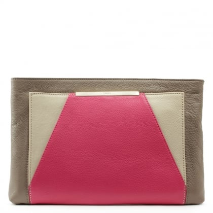 DKNY Crosby Tri Coloured Fuchsia Leather Clutch Bag