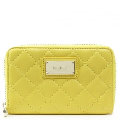 DKNY Gansevoort Quilted Yellow Leather Zip Around Wallet