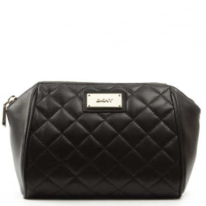 DKNY Quilted Black Leather Medium Cosmetic Case