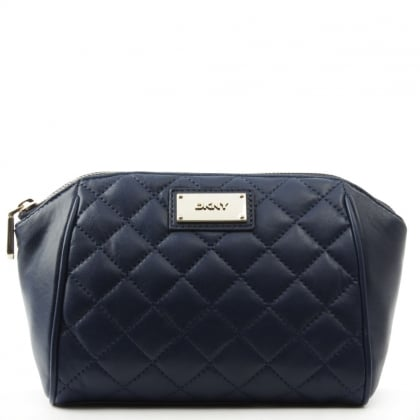 DKNY Quilted Navy Leather Medium Cosmetic Case