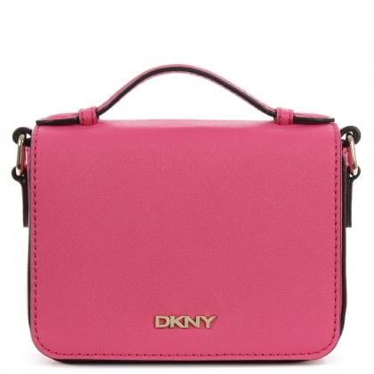 DKNY Bryant Park Fuchsia Saffiano Leather Mini Front Flap Cross-Body Bag