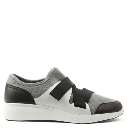 DKNY Tilly Grey Leather & Scuba Velcro Fastening Trainer