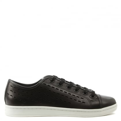 DKNY Baylee Black Leather Pinstripe Laser Cut Lace Up Trainer