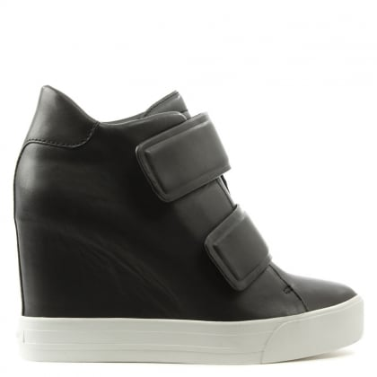 DKNY Grayson Black Leather Wedge High Top Trainer