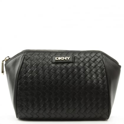 DKNY Woven Black Leather Medium Cosmetic Case