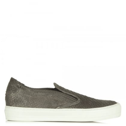 Daniel Chorizio Grey Leather Metallic Reptile Slip On Pump