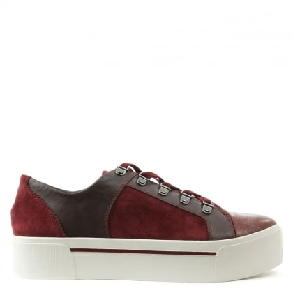 DKNY Briana Burgundy Suede & Leather Lace Up Flatform Trainer