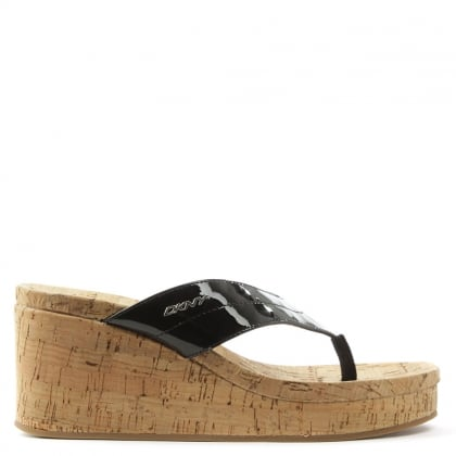 DKNY Lisa Black Wedge Patent Toe Post Sandal