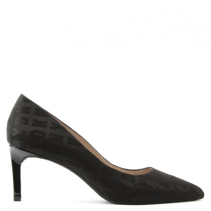DKNY Eviey Black Heritage Logo Print 70mm Court Shoe