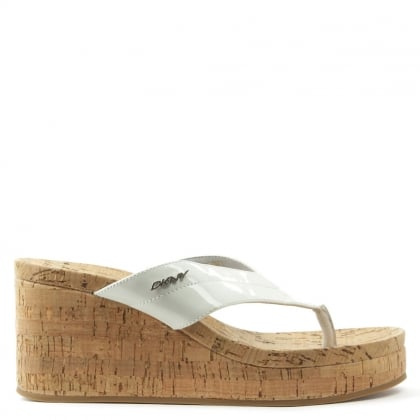 DKNY Lisa White Wedge Patent Toe Post Sandal