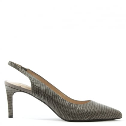 DKNY Eydie 70mm Taupe Leather Sling Back Pump