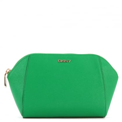 DKNY Medium Green Leather Cosmetic Case