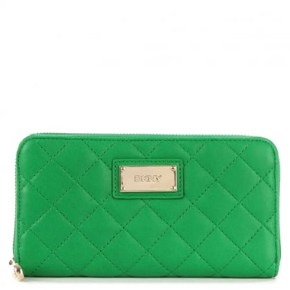DKNY Kandy 54 Green Leather Quilted Large Zip Around Wallet