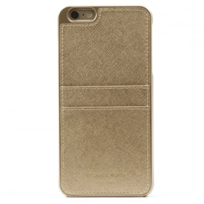 Michael Kors iPhone 6 Plus Gold Saffiano Leather Smartphone Case