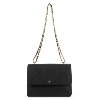 Tory Burch Robinson Convertible Black Leather Shoulder Bag