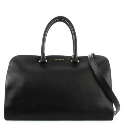 Lulu Guinness Vivienne Medium Smooth Black Leather Tote Bag