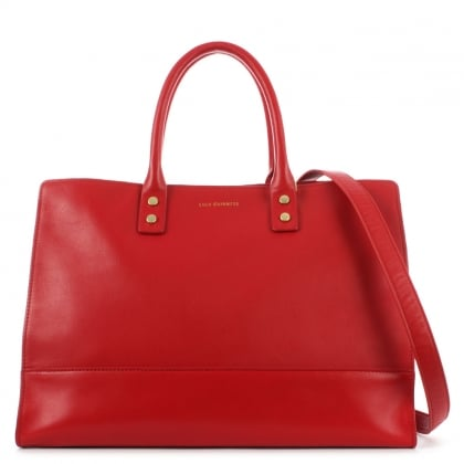 Lulu Guinness Daphne Smooth Red Leather Tote Bag