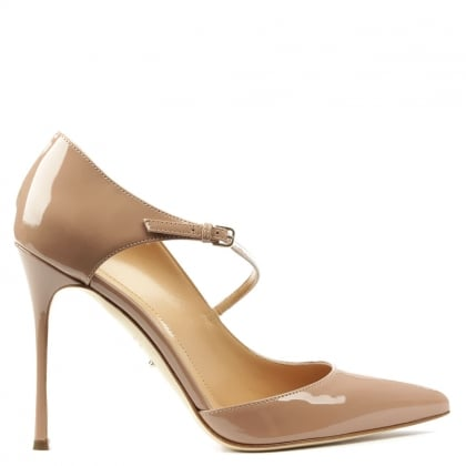 Sergio Rossi Nude Patent Leather Malgosia Cross Over Court Shoe