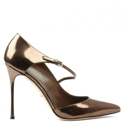 Sergio Rossi Tan Patent Malgosia Leather Cross Over Court Shoe