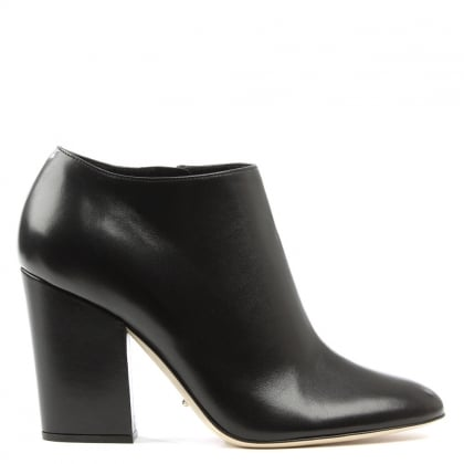 Sergio Rossi Black Leather Virginia Block Heel Ankle Boot