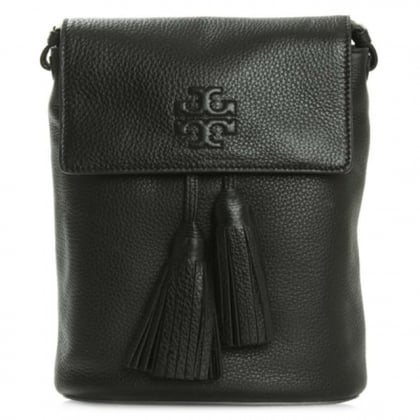 Tory Burch New Thea Black Leather Tassel Charm Messenger Bag