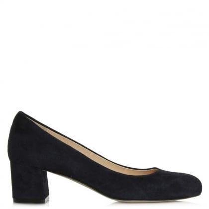 Calpierre 21 Navy Suede Block Heel Court Shoe