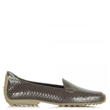 Kennel & Schmenger Grey Reptile Leather Cadogan Loafers