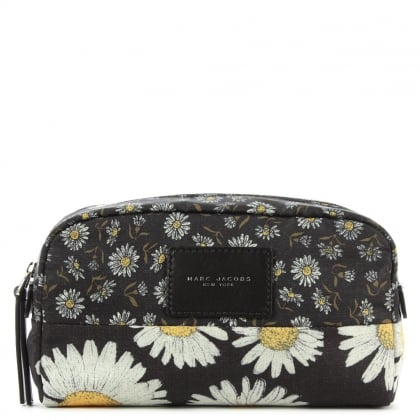 Marc Jacobs Mixed Daisy Flower Large Black Cosmetic Case