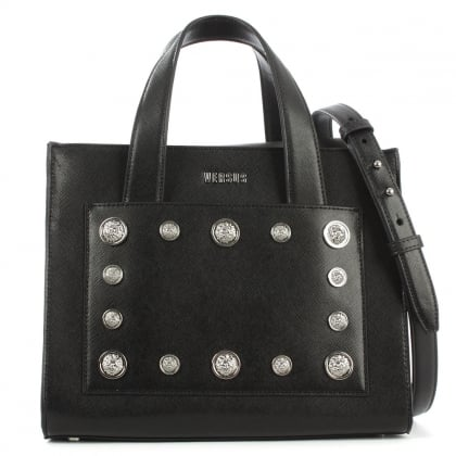 Versus Versace Top Handle Black Leather Tote Bag