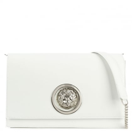 Versus Versace Flap Over White Leather Shoulder Bag