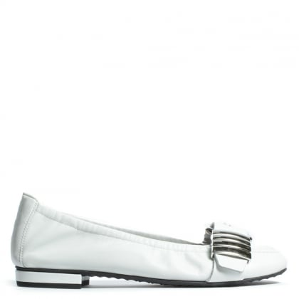 Kennel & Schmenger Pixiebob White Leather Buckle Flat