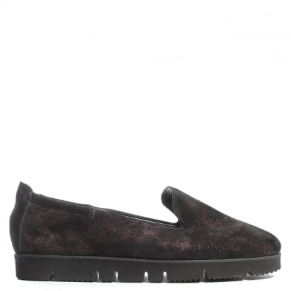 Kennel & Schmenger Toyger Burgundy Metallic Suede Cleated Sole Loafer