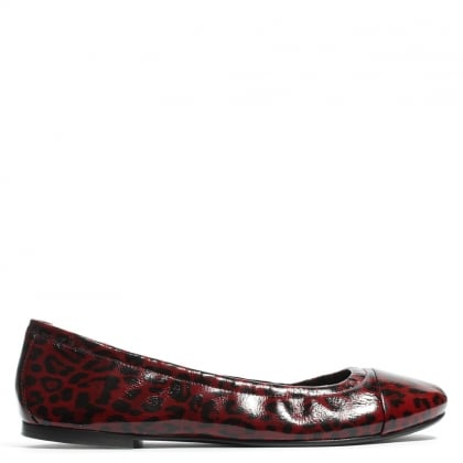 Kennel & Schmenger Argyle Red Leopard Patent Leather Ballerina Pump