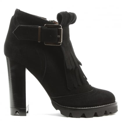 Daniel Esther Black Suede Tassel Front Block Heel Ankle Boot