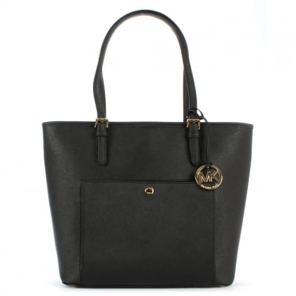 Michael Kors Jet Set Large Black Leather Logo Tote Bag