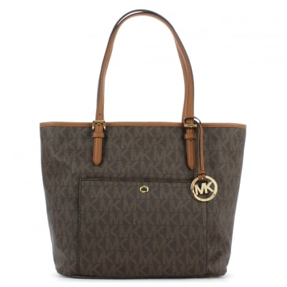 Michael Kors Jet Set Large Brown Leather Logo Tote Bag