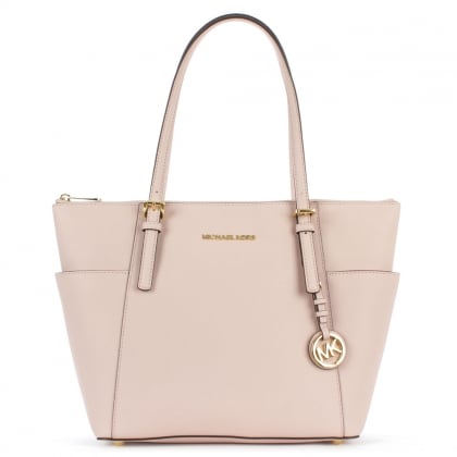 Michael Kors Jet Set Pocket Pink Leather Tote Bag