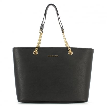 Michael Kors Jet Set Medium Black Saffiano Leather Chain Tote Bag