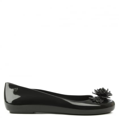 Melissa Alexandre Herchcovitch Black Space Love Flowers Ballet Flat