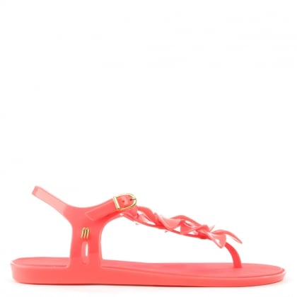 Melissa Solar Hawaii Pink Floral Toe Post Flip Flop