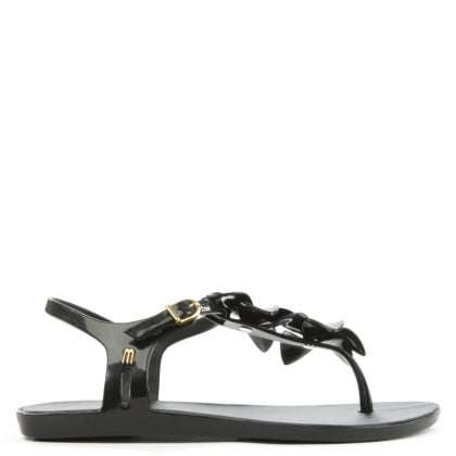 Melissa Solar Hawaii Black Floral Toe Post Sandal