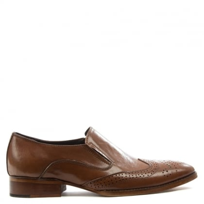 Gucinari Tan Leather Brogue Loafer