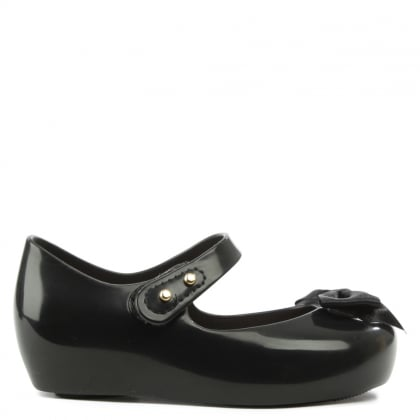 Melissa Mini Ultragirl Silk Bow Black Mary Jane