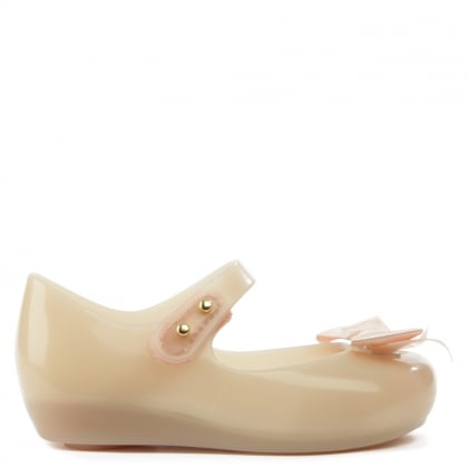 Melissa Mini Ultragirl Silk Bow Nude Mary Jane