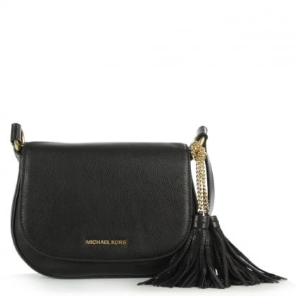 Michael Kors Elyse Black Leather Flapover Saddle Bag