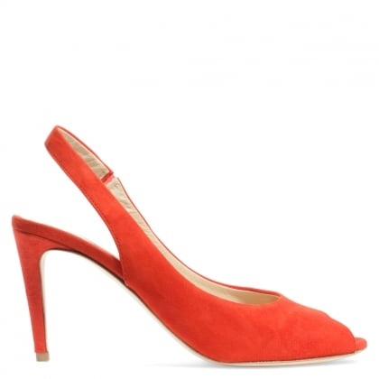 Kennel & Schmenger Sapparo Orange Suede Sling Back Peep Toe Sandal