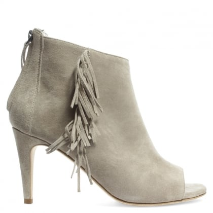 Kennel & Schmenger Fosca Beige Suede Fringed Peep Toe Shoe Boot