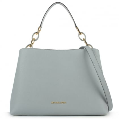 Michael Kors Portia Large Blue Saffiano Leather Shoulder Bag