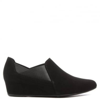 Hogl Trouser Black Suede Low Wedge Shoe